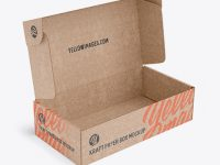 Opened Kraft Paper Box Mockup - Half Side View