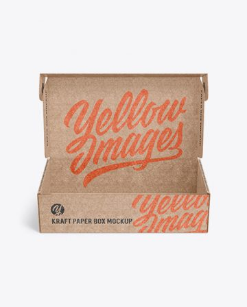 Opened Kraft Paper Box Mockup - Front View
