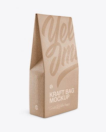 Kraft Matte Bag Mockup - Half Side View