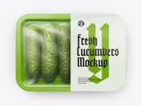 Plastic Tray With Cucumbers Mockup