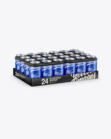 Pack with 24 Glossy Cans Mockup