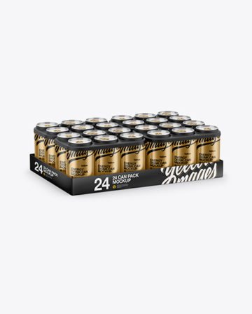 Pack with 24 Matte Aluminium Cans Mockup