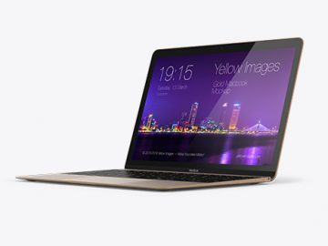 Apple MacBook Gold Mockup - 3/4 Right View