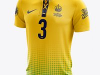 Lace-Up Soccer T-Shirt Mockup - Halfside View