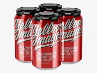 Pack of 4 Metallic Cans with Plastic Holder Mockup - Half Side View