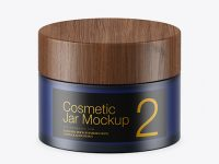 Dark Frosted Blue Glass Cosmetic Jar Mockup