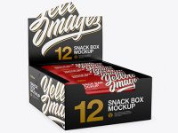 12 Matte Snack Bars Display Box Mockup