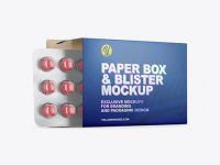 Opened Paper Box & Round Tablets Blister Mockup - Half Side View