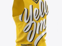 Basketball Jersey With V-Neck Mockup - Half Side View