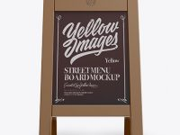 Street Menu Board Mockup - Front View