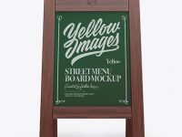 Wooden Street Menu Board Mockup - Front View