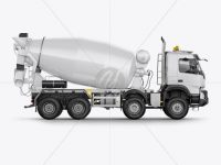 Volvo Mixer Truck Mockup - Side View