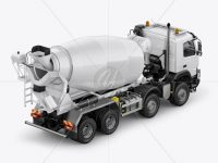 Volvo Mixer Truck Mockup - Right Back Half Side View