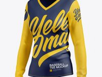 Women's Baseball T-shirt with Long Sleeves Mockup - Half Side View