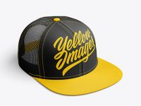 Snapback Trucker Cap mockup (Right Half Side View)