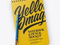 Notebook & Pencil Mockup - Top View