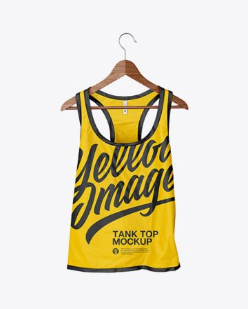Сrumpled Tank Top On Hanger Mockup