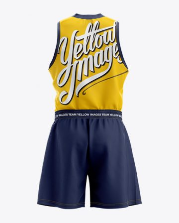 Basketball Kit w/ V-Neck Tank Top Mockup - Back View