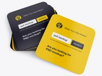 Stack of Square Business Cards Mockup