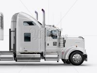 Kenworth Refrigerator Truck HQ Mockup - Side View