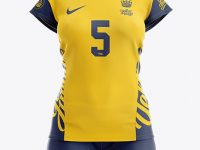 Women's Volleyball Kit with V-Neck Jersey Mockup - Front View