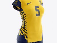 Women's Volleyball Kit with V-Neck Jersey Mockup - Half Side View