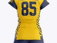 Women's Volleyball Kit with V-Neck Jersey Mockup - Back View