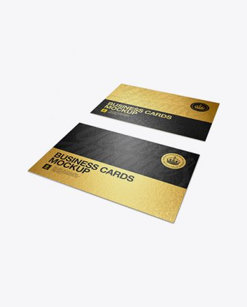 Metallic Business Cards With Rough Finish Mockup