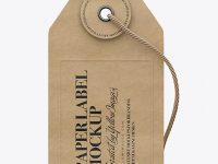 Kraft Paper Label With String Mockup - Front View