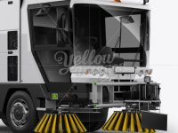 Street Sweeping Machine Mockup - Halfside view