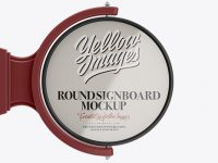 Glossy Round Signboard Mockup - Font View