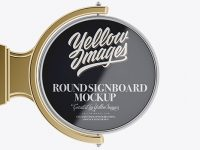 Metallic Round Signboard Mockup - Front View