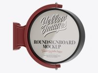 Glossy Round Signboard Mockup - Half Side View