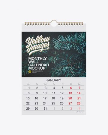 Textured Monthly Wall Calendar Mockup - Front View