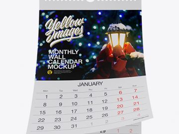 Monthly Wall Calendar Mockup - Front View