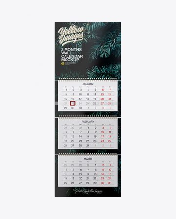 3 Months Wall Calendar Mockup - Front View