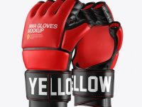 Two MMA Gloves Mockup - Half Side View