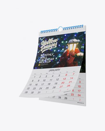 Monthly Wall Calendar Mockup - Half Side View