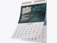 Textured Monthly Wall Calendar Mockup - Half Side View