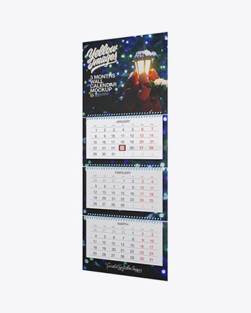 3 Months Wall Calendar Mockup - Half Side View