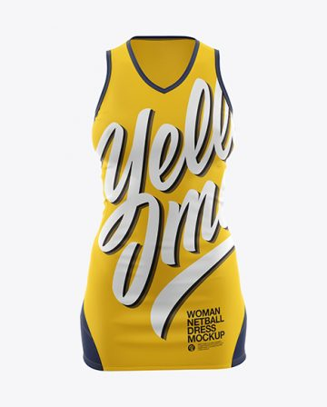 Netball Dress With V-Neck HQ Mockup - Front View