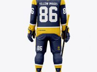 Men's Full Ice Hockey Kit with Visor mockup (Back View)