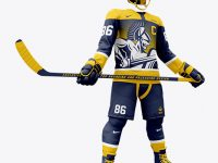 Men's Full Ice Hockey Kit with Stick mockup (Hero Shot)
