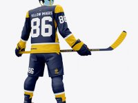 Men's Full Ice Hockey Kit with Stick mockup (Hero Back Shot)