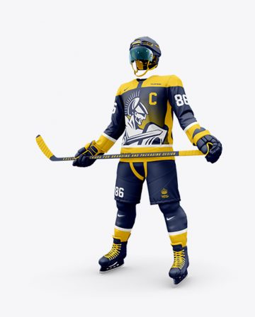 Men's Full Ice Hockey Kit with Stick mockup (Half Side View)