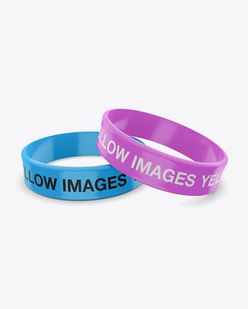 Thick Glossy Silicone Wristbands Mockup