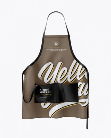 Apron With Leather Parts Mockup - Front View