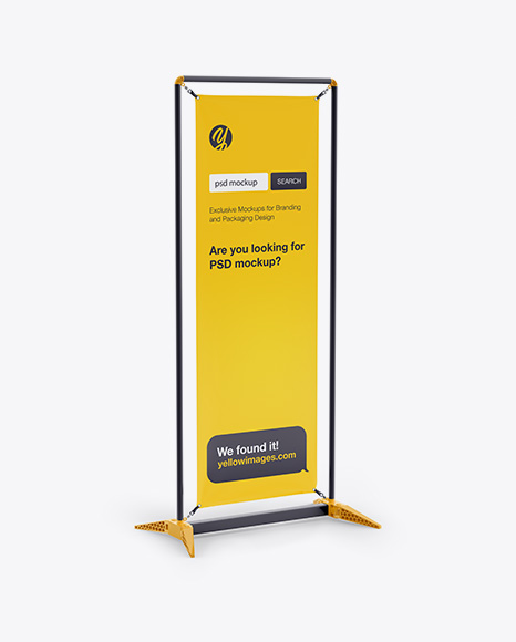 Glossy Vinyl Stand-Up Banner in Frame Mockup - Half Side View