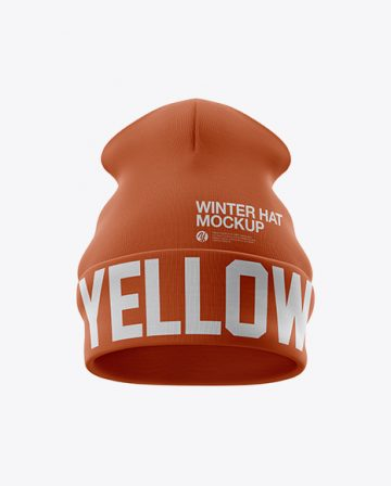 Turn Up Beanie Hat Mockup - Front View