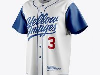Men's Baseball Jersey Mockup - Front Half Side View